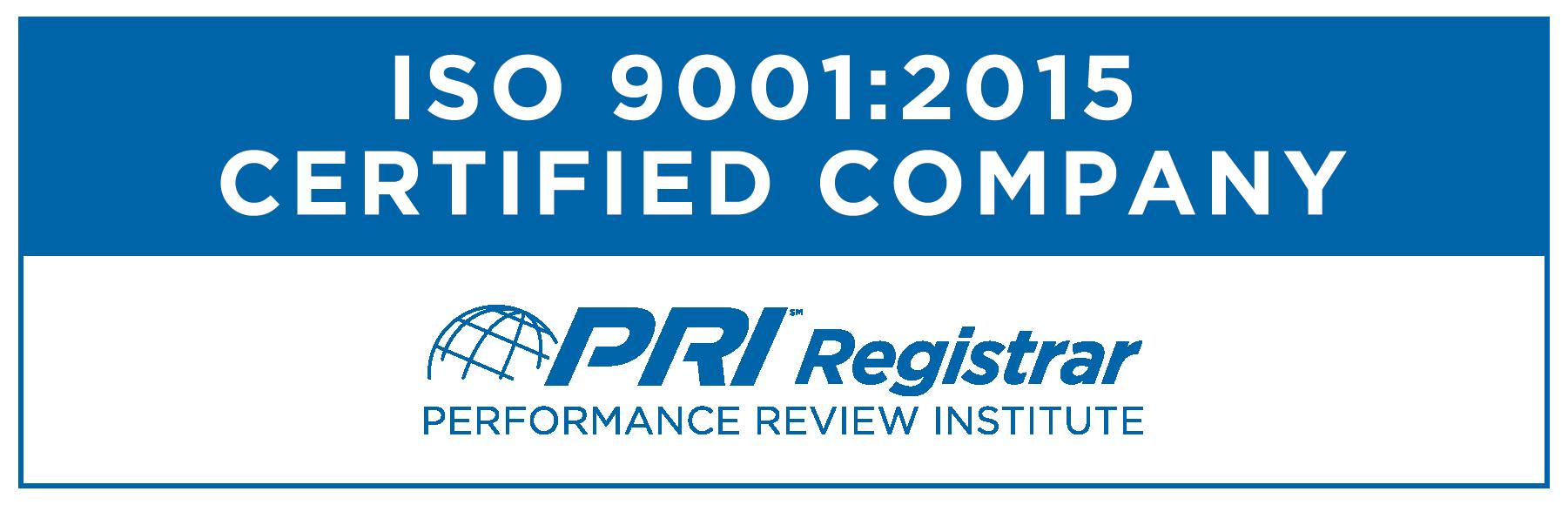 PRI Programs Quality Certificate Image ISO 9001-2015