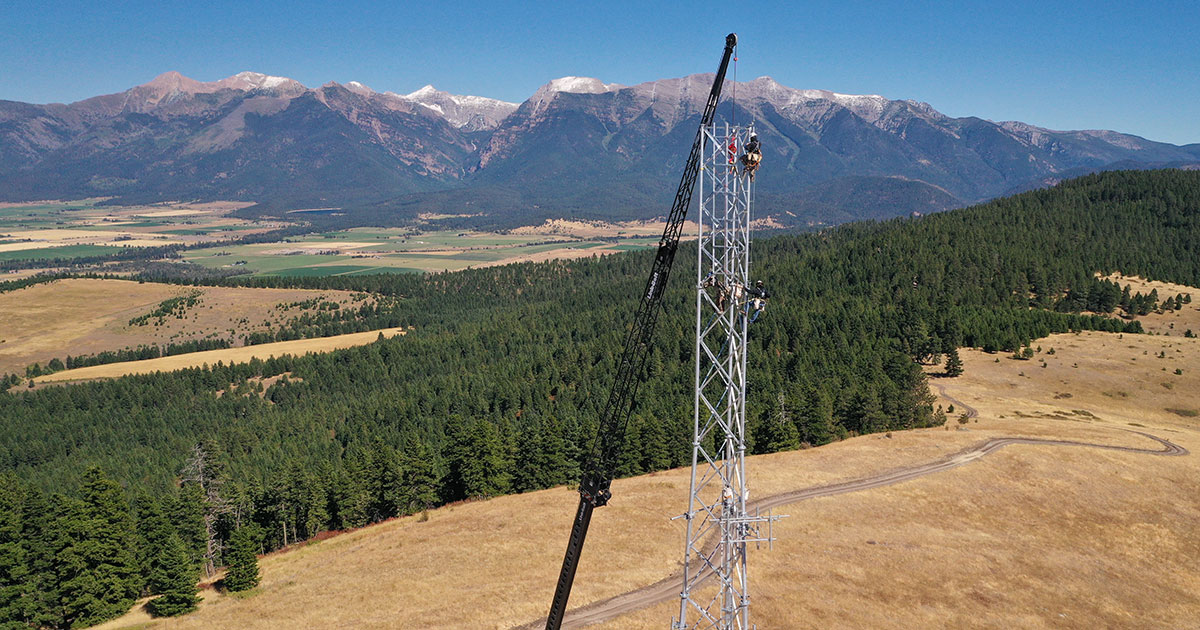 ITL workers during the construction process of a tower above the Mission Valley of the Flathead Reservation in northwest Montana.